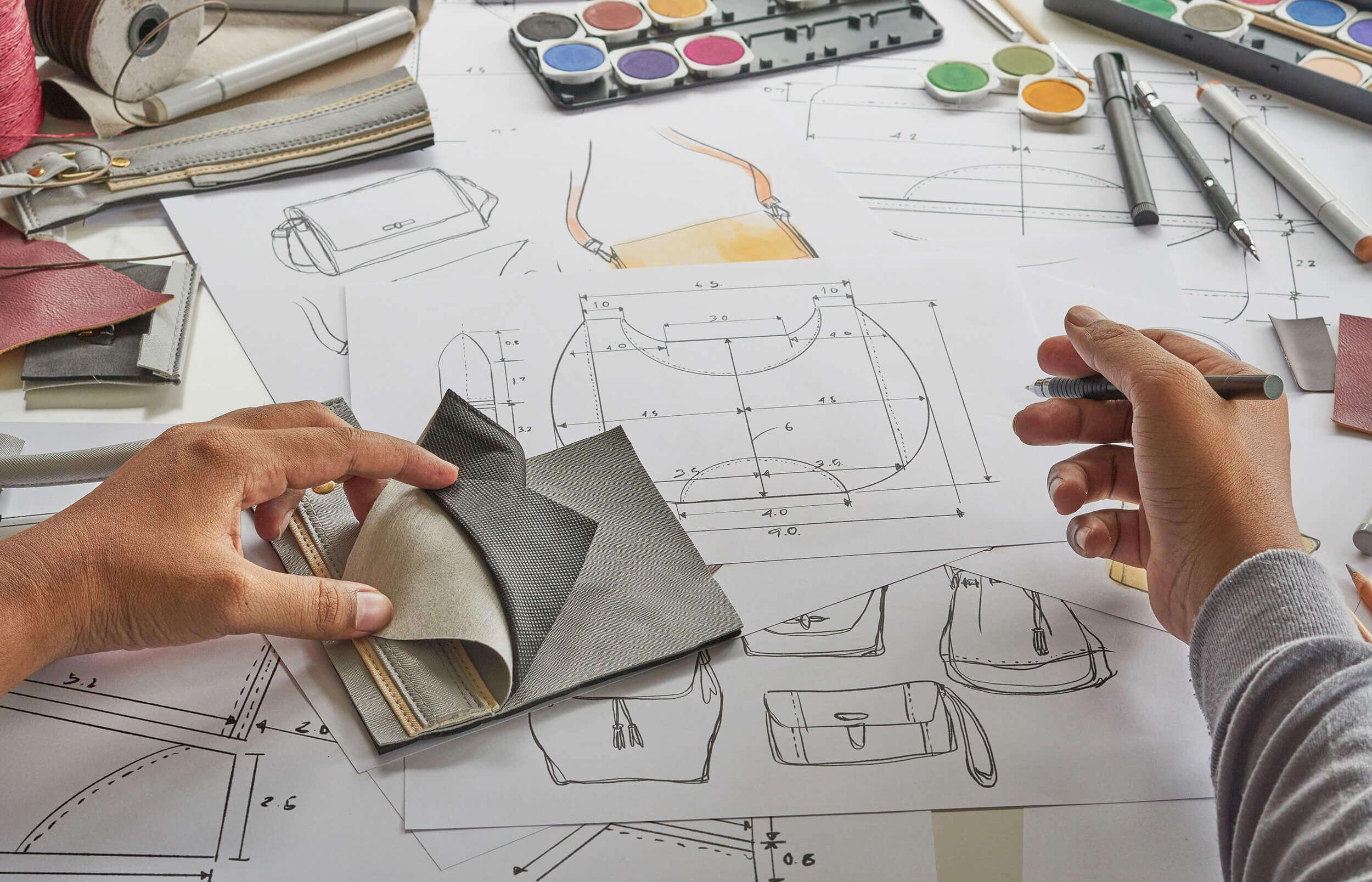 Handbag Designer Sketching Technical Drawings