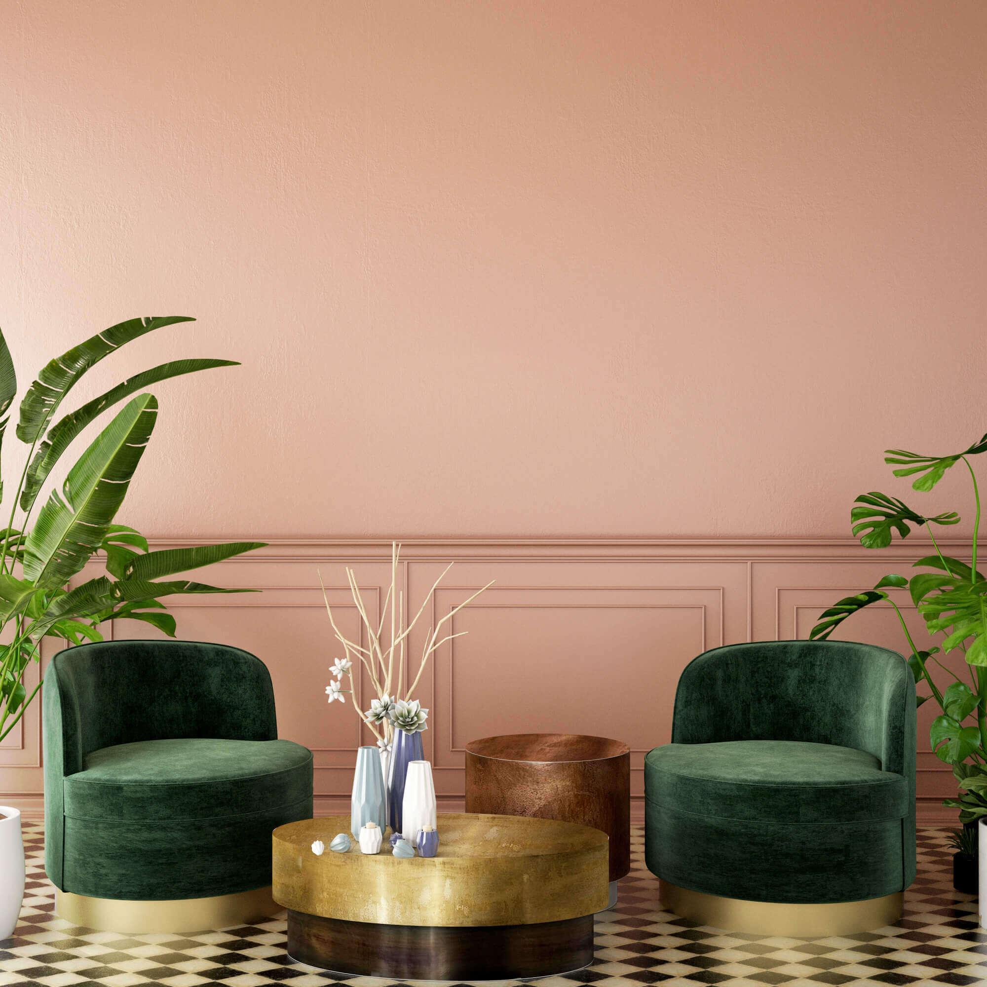 Peach & Green Living Room Interior Concept